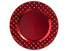 DIAMS dekorativní kulatý talíř, červená, 33 cm