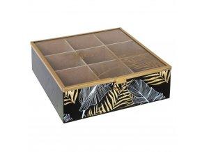 Krabička na čaj JUNGLE AFRICA, 9 přihrádek, černá barva