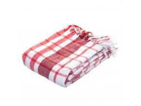 Vánoční deka, bílá a červená, 130 x 170 cm