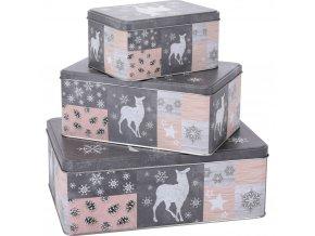 Kovové krabice 3 x 10 x 14 x 7 cm Vánoční téma
