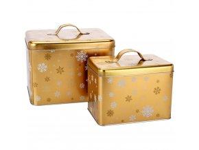 Kovové plechovky s rukojetí, balení po 2,13 x 16 x 11 cm, zlato