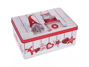 Kovová krabice, obdélníkový, vánoční téma, 22 x 16 x 9 cm