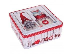 Kovová čtvercová krabice s vánočním motivem, 19 x 19 x 8 cm