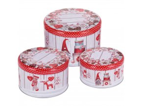 Krabička na sušenky, sada 3 kulatých plechovek s motivem Santa, Ø 13 x 8 cm