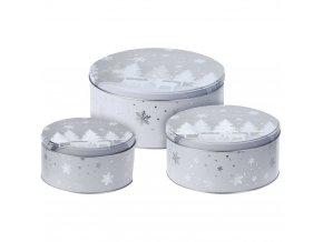 Krabička na sušenky, sada 3 kulatých plechovek, průměr 13 x 7 cm, vánoční téma