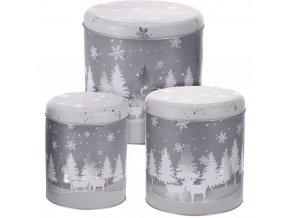 Sada 3 kulatých plechovek různých velikostí, Ø 13 x 17 cm, vánoční téma