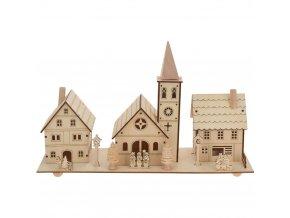 LED vánoční scéna: Kostel + vily, dřevěná dekorace s podsvícením