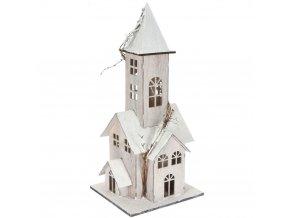 Dřevěný dům s LED podsvícením, 48 cm