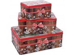 3 obdélníkové kovové ciny s vánočním vzorem