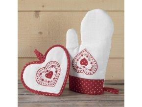Kuchyňská rukavice +noha, chata, bílá a červená