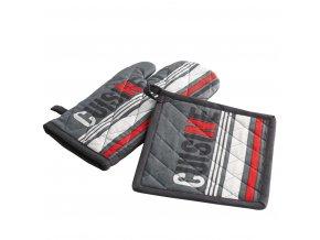 Kuchyňská rukavice + tlapa, TOP KUSINE, barva černá a červená