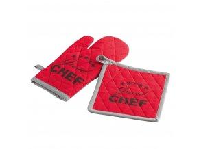 Kuchyňská rukavice + tlapa, CHEF ETOILE, barva červená