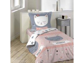 Bavlněné ložní prádlo pro děti se vzorem kočka MIMI, 140 x 200 cm