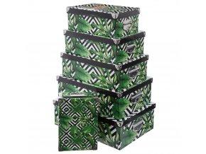 Sada 6 kartonových krabic s víčkem na karty, JUNGLE v černých čtvercích