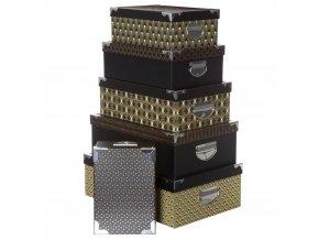 Sada 6 kartonových krabic s víčkem na karty, černé a zlaté