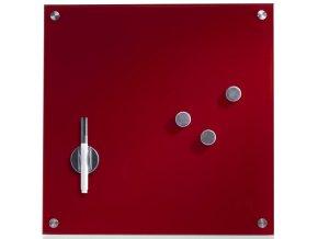 Multifunkční skleněná tabule na psaní MEMO, 3 magnety, 40x40 cm, červená barva, ZELLER