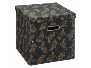 Kartonová krabice s víkem, úložný box, 31 x 31 cm, černá s motivem dlaně