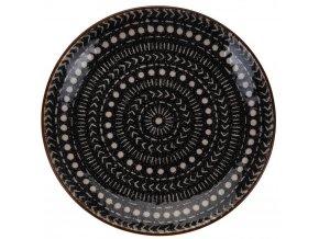 Keramická deska, dekorativní deska, průměr 21 cm, Vzor teček a šipek