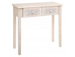 Dřevěná konzola HINA se 2 zásuvkami Elegantní stůl světle hnědá komoda 80 x 30 cm
