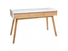 Dřevěná konzola ELVA se 3 zásuvkami, elegantní stůl v moderním stylu, 120 x 55 cm, bílá