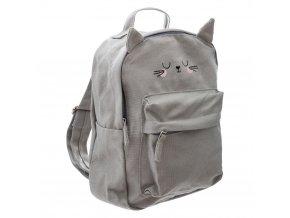 Dětský batoh pro školky, batoh, kočičí motiv, šedá