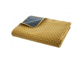 Přehoz na postel, oboustranná prošívaná, žluto-námořnická modř, 240 x 220 cm