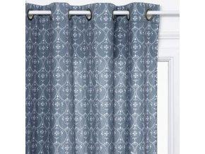 Záclona se závěsem, Oclona, Tmavě modrá s potiskem, 140 x 260 cm