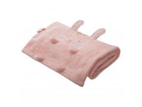 Dětská deka s motivem zajíček, měkká deka pro dítě, 100 x 75 cm, růžová