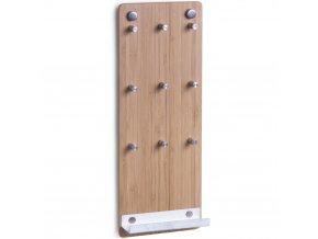 Bambusový tabule na klíče, 9 háčků + polička, ZELLER
