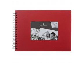 Album pro 160 fotografií, ve spirále, barva červená