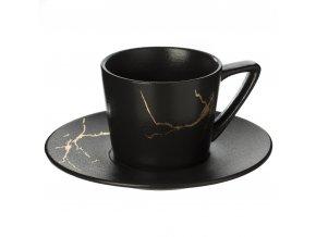 Šálek na čaj s podšálkem MERR, 200 ml, barva černá
