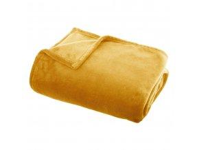 Plyšová deka FLANEL UNI, 140 x 200 cm, žlutá