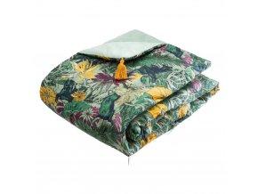 Zvířecí bavlna přehoz na postel, tropické listy, 80 x 180 cm