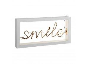 LED lampa, světelná dekorace úsměv, barva bílá