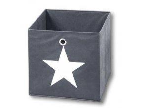 Textilní nádoba šedá s hvězdičkou, 32x32x32 cm, KESPER