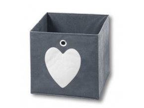 Šedá textilní nádoba se srdcem, 32x32x32 cm, KESPER