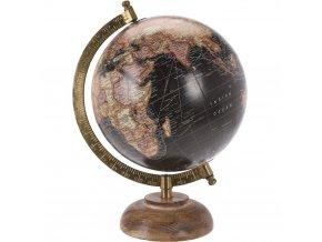 Dekorativní koule ze dřeva a kovu, retro černá.
