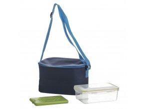 Termální taška LUNCHBOX s ramenním popruhem +kontejner na potraviny a chladicí kazeta, tmavě modrá, INTEX