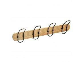 Dřevěný věšák na oblečení se 4 háčky ve tvaru bezpečnostních kolíků