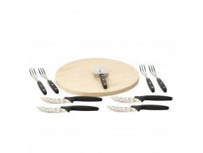Sada pizzy: kulatý plán+nože a vidličky, 10 ks