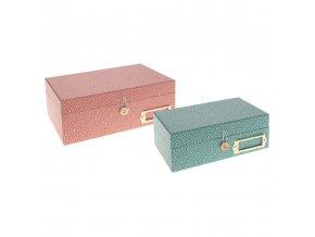 Sada 2 ks papírových krabic na drobné předměty, šperky, máta a růžová