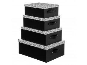 Kartonová krabice, 4 typy, černá s bílým víkem