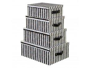 Kartonová krabice, 4 typy, bílá s černými pruhy