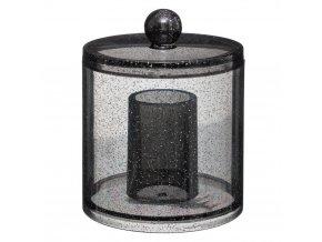 Kosmetická nádoba GLITTER S, 12 cm, černá