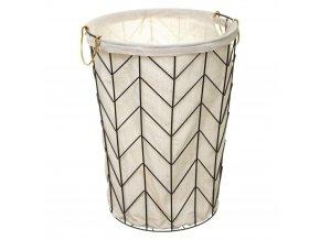 Koš na prádlo ČERNÁ, kovová nádoba, Ø 38x51 cm