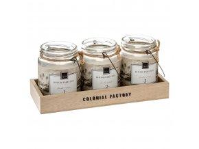 COLONI vonné svíčky ve sklenicích, 3 kusy na dřevěném stojanu