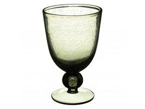 Sklenka na víno ze zeleného skla GREY BUBBBLE, 10 cm