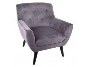 Křeslo s pohodlným sedadlem z pěny EOLE, velur, šedá barva