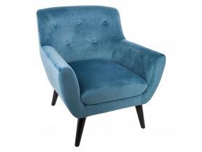 Velurové křeslo s pěnovým sedadlemv barvě tyrkysové EOLE