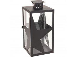 Kovová lucerna STARS, 38 cm, černá